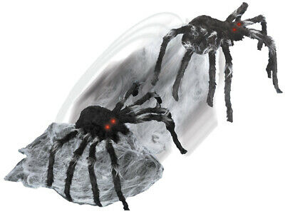 ANIMATED JUMPING LUNGING SPIDER Halloween Prop CHOICE OF BLACK OR BROWN