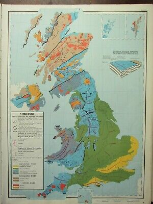 VINTAGE LARGE MAP of BRITAIN STRUCTURE FAULTS SEDIMENTARY ROCKS SCARPS