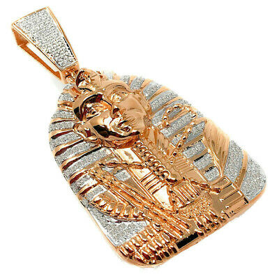 "Real Diamonds Rose Gold Finish Egyptian Pharaoh King Tut 2.5"" Pendant 22 Grams"