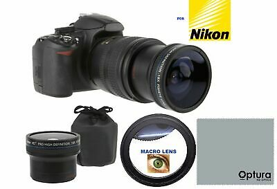Super Wide Fisheye Lens + Macro Attachment For Nikon D5100 D5200 D5300 D3000 D61