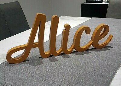 Personalised WOODEN Name Decal Boys Girls Childrens Nursery Decor Freestanding