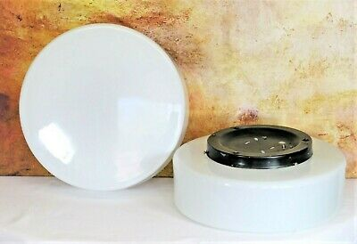 Pair Vintage Eichler German Industrial Opaline Glass Flush Ceiling Lights Wall