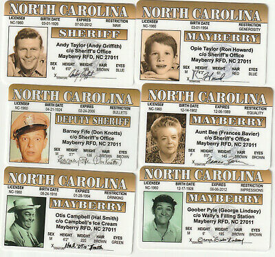 The Andy Griffith Show 6 Drivers License fake ID card Barney Fife Frances Bavier