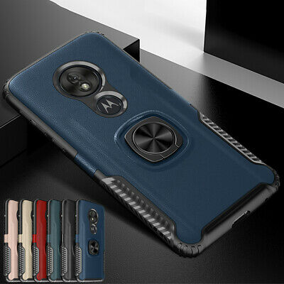 For Motorola Moto G7 Play/Power Slim Hybrid Rubber + PC Ring Stand Case Cover
