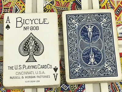 Antique Bicycle 808 Rider back Playing Cards Russell & Morgan Factories