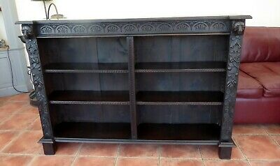 Country Oak Double Bookcase Carved Bears Heads 1860 Free Shipping To England
