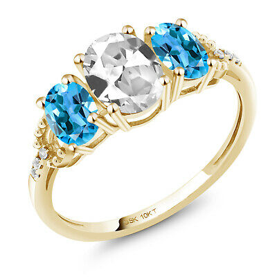 10K Yellow Gold Ring 2.12 Ct Oval White Created Sapphire Swiss Blue Topaz