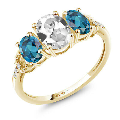 10K Yellow Gold Ring 2.22 Ct Oval White Created Sapphire London Blue Topaz