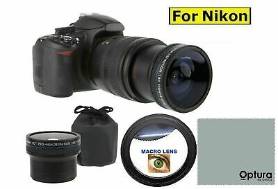 52Mm 18X Ultra Fisheye + Hd Macro For Nikon D3100 D3000 D3200 D3300 D5000 D5100