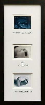 Personalised Three Scan or Pictures Vertical Photo Frame Black