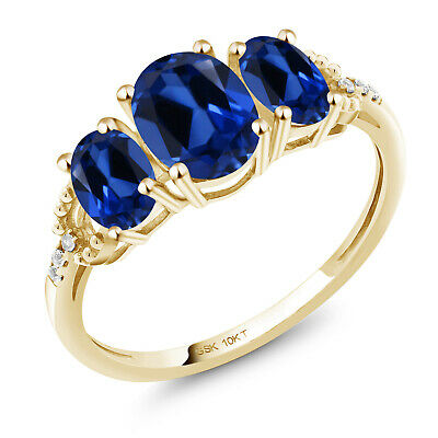 10K Yellow Gold Engagement Ring 2.22 Ct Oval Blue Created Sapphire