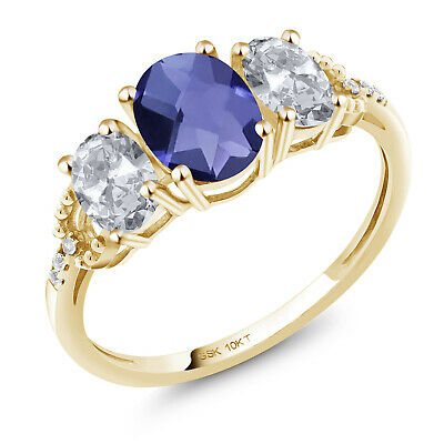 10K Yellow Gold Ring 1.87 Ct Oval Checkerboard Blue Iolite White Topaz