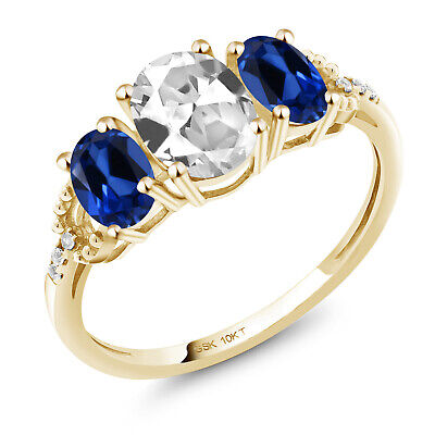 10K Yellow Gold Ring 2.22 Ct Oval White Created Sapphire Blue Created Sapphire