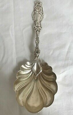 """Berry or Large Serving Spoon. American Sterling Silver Whiting Lily. 9"""". M Mono"""
