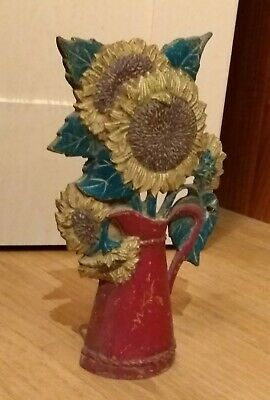 A Nice Vintage/ Antique Sunflowers In Vase Doorstop