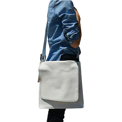 Marc by Marc Jacobs Leather Triple Stitching Messenger Crossbody Bag White Multi