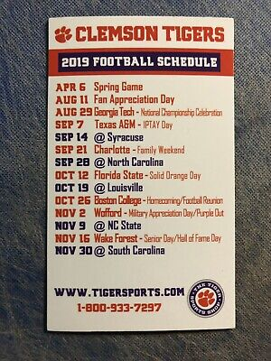 Clemson University Tigers Football 2019 Schedule MAGNET National Champions