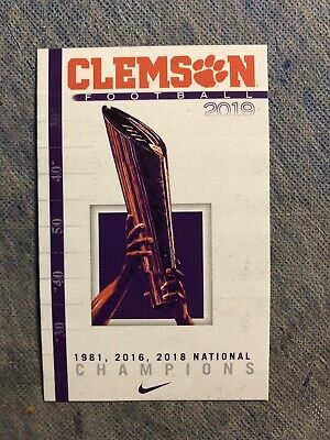 Clemson University Tigers Football 2019 Schedule card National Champions