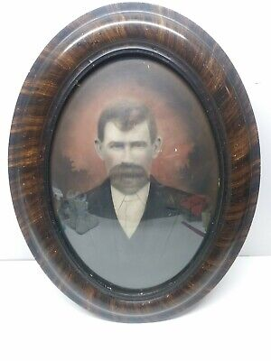 """Antique Convex Glass Oval Tiger Wood Picture Frame 24 1/2"""" X 18 5/8""""  ~(ds747)"""