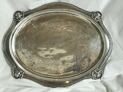 """Egyptian Revival Victorian Silverplate Tray. Engraved, H Monogram. 14.5"""" x 11.5"""""""