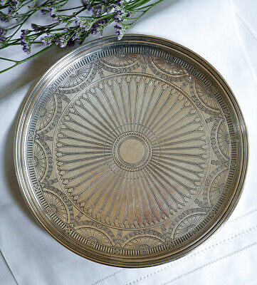 Stunning Antique 1914 Tiffany & Co. Etched Sterling Silver Tray, 22.72 oz.