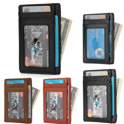 New Genuine Leather Slim Card Holder Wallets For Men - Mini Slim RFID Blocking