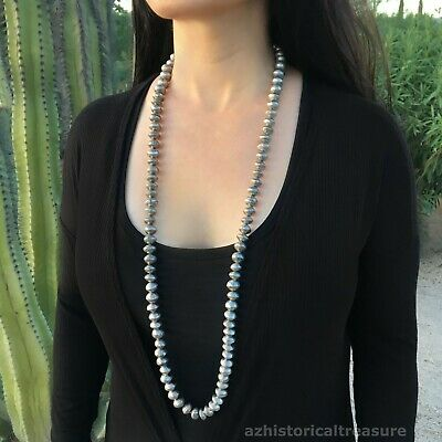 Old Large Native American Navajo Handmade Silver Pearl Bead Necklace