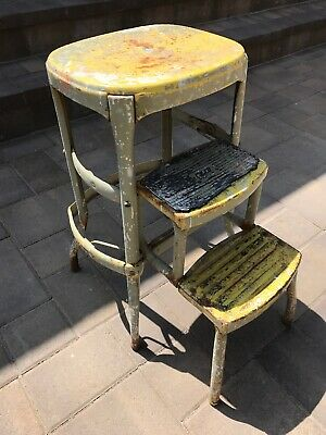 Brilliant Vintage Antique Cosco Fold Out Retro Steel Metal Rustic Step Pabps2019 Chair Design Images Pabps2019Com
