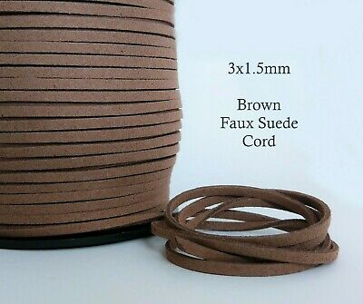 5 Metres Brown Faux Suede Cord 3mm x 1.5mm Flat Soft Light Brown Vegan Leather