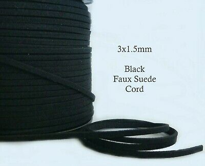 5 metres Black Faux Suede Cord 3mm Flat Soft Vegan Leather Jewelry Craft Cord