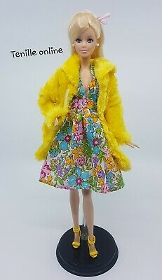 New Barbie clothes complete outfit summer dress fur coat fashion shoes bright