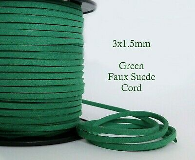 5 metres Green Faux Suede Cord 3mm x 1.5mm Soft Vegan Leather Jewelry Craft Cord