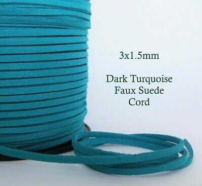 5 metres Dark Turquoise Faux Suede Cord 3mm Flat Soft Vegan Macrame Leather