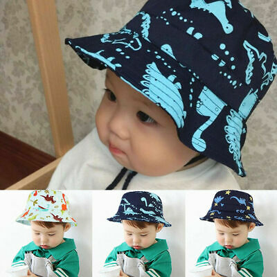 Children Boys Cartoon Dinosaur Bucket Hat Cotton Summer Beach Kids Baby Sun Cap