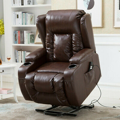 Recliner Power Lift Chair Wall Hugger PU Leather with Remote Control (Brown) TO