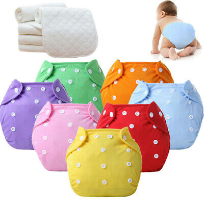 Cloth Diaper Nappies Adjustable Reusable Lot Baby Washable 5 Diapers+ 5 INSERTS