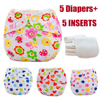 Baby Nappies Washable Cloth Diaper Adjustable Reusable Lot 5 Diapers+ 5 INSERTS