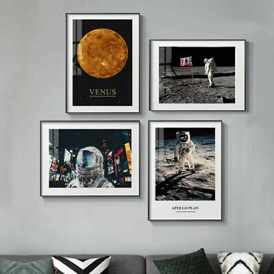 Astronaut Moon Venus Canvas Poster Minimalist Art Print Wall Picture Decoration