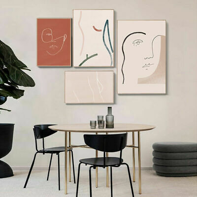 Line Drawing Woman Face Canvas Poster Abstract Art Print Modern Home Decoration