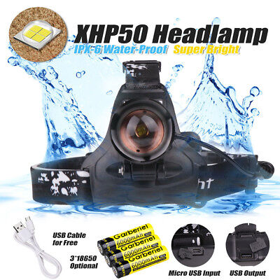 990000LM XHP 50 LED Headlamp Zoom USB Rechargeable 18650 Headlight Super Bright