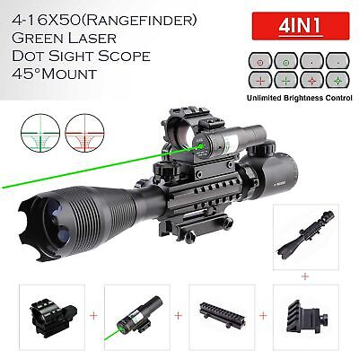 5 in 1 4-16x50 Rifle Scope W/Green Laser 4 Reticle Dot Sight Scope 45°Mount mps