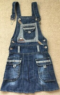 "Girls Denim Jean Dungaree Dress, Size 22"" Waist, Approx Age 8 ❤️Perfect Conditio"