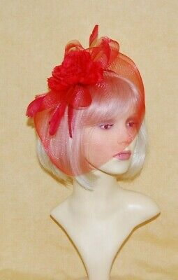 Elegant Red Veiling & Rose & Feather Fascinator on Head Band
