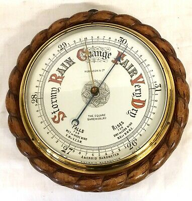 Antique Very Large Carved Rope Edge Oak Barometer : China Dial Bar C58