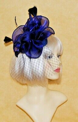 Elegant Navy Blue Organza & Feather Juliet Cap Fascinator on Head Band.