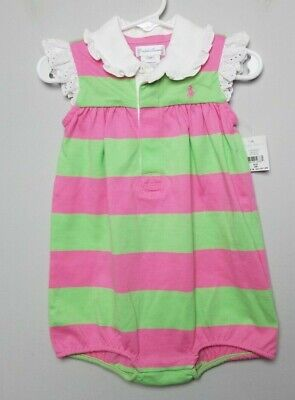 New Ralph Lauren One Piece Baby Toddler Size 12 Month Pink Green Eyelet White