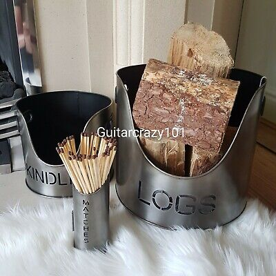 Set of 3 LOGS KINDLING MATCHES buckets holders metal SILVER finish Fireside