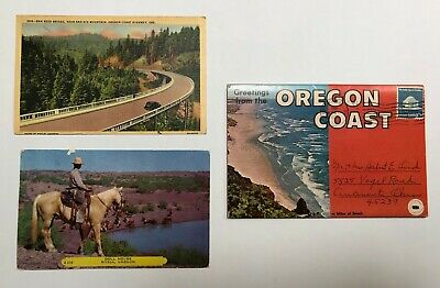 Lot of 3 Vintage Postcards Oregon post marked 1949, 1952 and ?