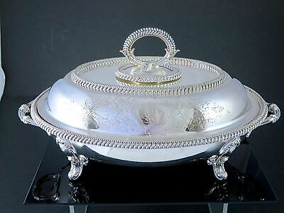 Victorian 1859 SHEFFIELD Heavy Silverplate FOOTED ENTREE DISH Coat of Arms