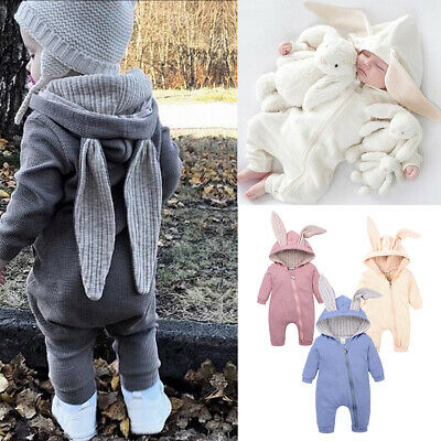 Toddler Baby Girls Boy Hooded Jumpsuit Rabbit Costume Infant Party Romper Hoodie